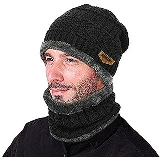 02b0d1ccf2d Buy Aeoss 2-Pieces Winter Beanie Hat Scarf Set Warm Knit Hat Thick Knit Cap  For Men Women Online - Get 6% Off