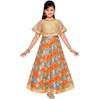 Adiva Girls Party Wear Poncho Dress For Kids