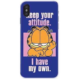 Iphone x Black Hard Printed Case Cover by HACHI - Garfield Fans design
