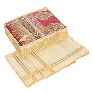 Kuber Industries™ Non Woven Designer Bow Saree Cover/ Lahenga Cover Set Of 3 Pcs (6 Inches Height)