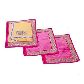 Kuber Industries™ Single Packing Saree Cover Set of 3 Pcs (Designer Lace)