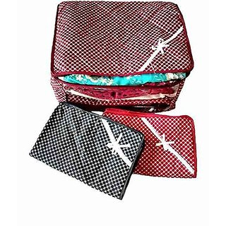 Kuber Industries™ 3 Layered Quilted Polka Dots Multi Saree Cover, Wardrobe Organiser, Set Of 3 Pcs