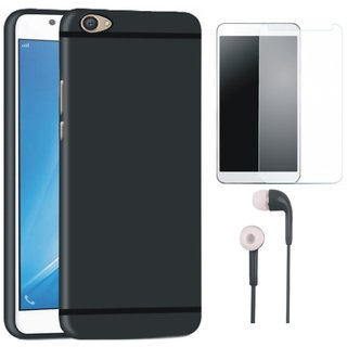 Redmi Y1 Soft Silicon Slim Fit Back Cover with Tempered Glass and Earphones