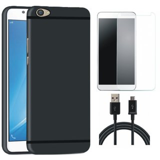 Redmi Y1 Soft Silicon Slim Fit Back Cover with Tempered Glass and USB Cable