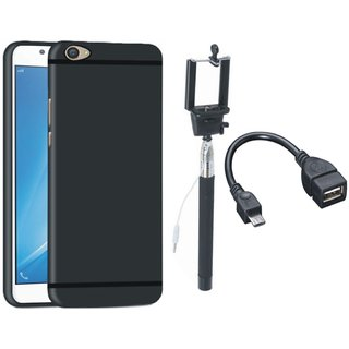 Redmi 4 Silicon Anti Slip Back Cover with Selfie Stick and OTG Cable