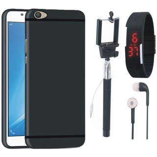 Redmi 4 Silicon Anti Slip Back Cover with Selfie Stick, Digtal Watch and Earphones