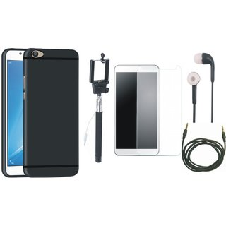 Redmi 4 Silicon Anti Slip Back Cover with Free Selfie Stick, Tempered Glass, Earphones and AUX Cable