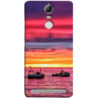 FUSON Designer Back Case Cover for Lenovo K5 Note :: Lenovo Vibe K5 Note Pro (Red Sky Horizon Fishing Boats Sun Shining Happy)