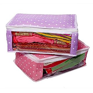 Kuber Industries trade; Saree Cover in Polka Dots Cotton Material Set of 2 Pcs