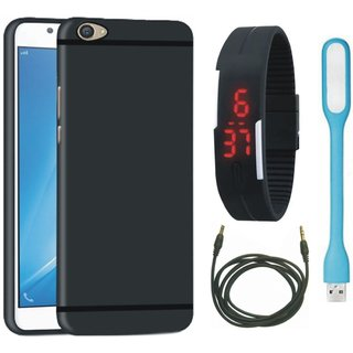 Redmi A1 Soft Silicon Slim Fit Back Cover with Digital Watch, USB LED Light and AUX Cable