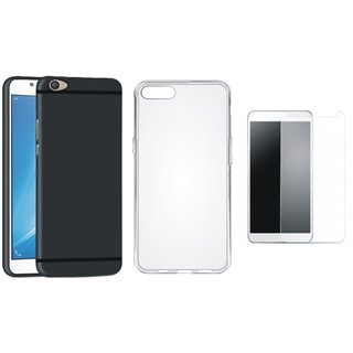 Oppo F3 Plus Soft Silicon Slim Fit Back Cover with Silicon Back Cover, Tempered Glass