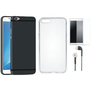 Oppo F3 Plus Soft Silicon Slim Fit Back Cover with Silicon Back Cover, Earphones and Tempered Glass