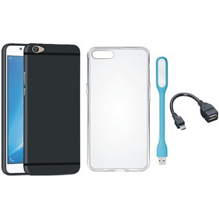 Oppo F3 Plus Soft Silicon Slim Fit Back Cover with Silicon Back Cover, USB LED Light and OTG Cable