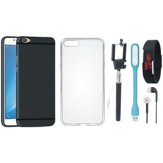 Oppo F3 Plus Soft Silicon Slim Fit Back Cover with Silicon Back Cover, Selfie Stick, Digtal Watch, Earphones and USB LED Light