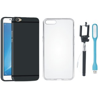 Oppo F3 Plus Soft Silicon Slim Fit Back Cover with Silicon Back Cover, Selfie Stick and USB LED Light