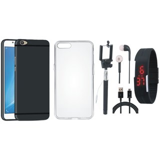 Oppo F3 Plus Soft Silicon Slim Fit Back Cover with Silicon Back Cover, Selfie Stick, Digtal Watch, Earphones and USB Cable