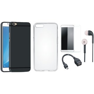 Oppo F3 Plus Soft Silicon Slim Fit Back Cover with Silicon Back Cover, Tempered Glass, Earphones and OTG Cable