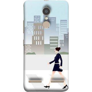 FUSON Designer Back Case Cover for Lenovo K6 (Morden Girl Building Blue Outfit Purse Zebra Cross)