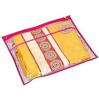 Kuber Industries™ Single Packing Transparent Saree Cover Set Of 6 Pcs (With Zip Lock)