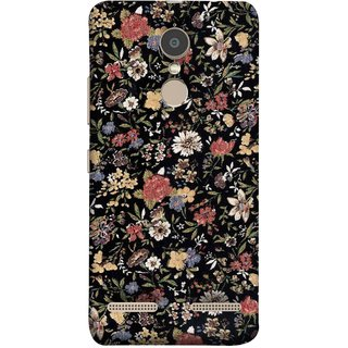 FUSON Designer Back Case Cover for Lenovo K6 (Cotton Quilt Fabric Susie Butterfly Floral )
