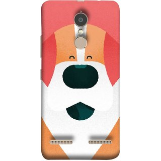 FUSON Designer Back Case Cover for Lenovo K6 (Big Smiling Puppy Canvas Painting Close Up Photo)