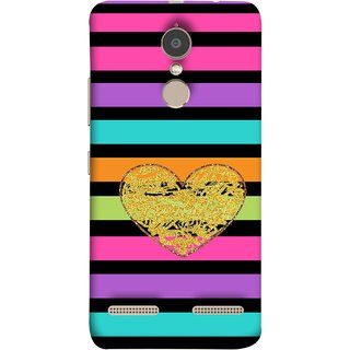 FUSON Designer Back Case Cover for Lenovo K6 (Sprinkle Gold Glitter Heart Flag Hearts Valentine)