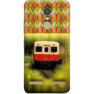 FUSON Designer Back Case Cover for Lenovo K6 (Old Trains Sunshine Yellow Flowers Express Mail )