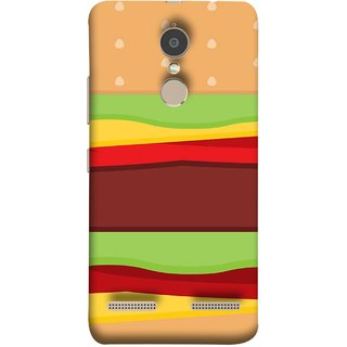 FUSON Designer Back Case Cover for Lenovo K6 (Artwork Green Red Lines Brown Circles Bubbles)