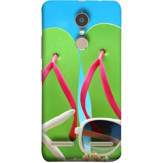 FUSON Designer Back Case Cover for Lenovo K6 (Green Chappals Sand Starfish Sunny Day Sunshine)