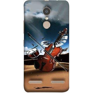 FUSON Designer Back Case Cover for Lenovo K6 (Musical Instrument Vintage Bass Music Lovers Play)