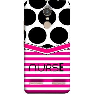 FUSON Designer Back Case Cover for Lenovo K6 (Pink Design Paper Big Black Circles Bubbles Nurse Doctor)