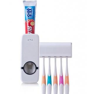 Tooth Paste Dispenser and Toothbrush Holder