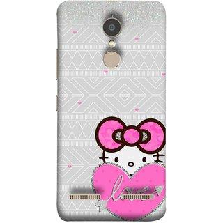 FUSON Designer Back Case Cover for Lenovo K6 (Silver Background Pink Red Love Bird Lovers Couples )