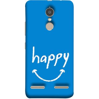 FUSON Designer Back Case Cover for Lenovo K6 (Blue Background Themes Stay Happy White Font)
