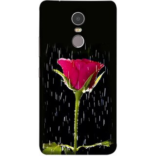 FUSON Designer Back Case Cover for Lenovo K6 Note (Red Rose Love Pink Water Raining Flowers )