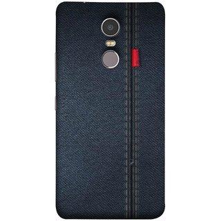 FUSON Designer Back Case Cover for Lenovo K6 Note (Denim Dark Blue Jeans White Thread Boys Love)