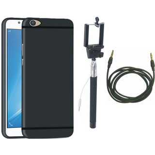 Redmi A1 Silicon Anti Slip Back Cover with Selfie Stick and AUX Cable
