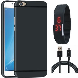 Oppo F3 Plus Silicon Anti Slip Back Cover with Digital Watch and USB Cable