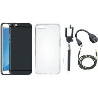 Oppo F3 Plus Silicon Anti Slip Back Cover with Silicon Back Cover, Selfie Stick, OTG Cable and AUX Cable