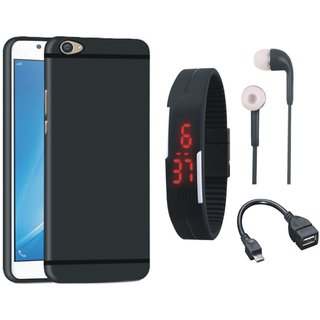 Redmi A1 Silicon Anti Slip Back Cover with Digital Watch, Earphones and OTG Cable