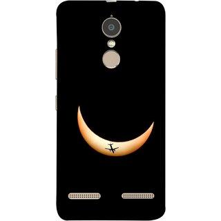 FUSON Designer Back Case Cover for Lenovo K6 (Black Background Yellow Moon Beam Lovely Picture)
