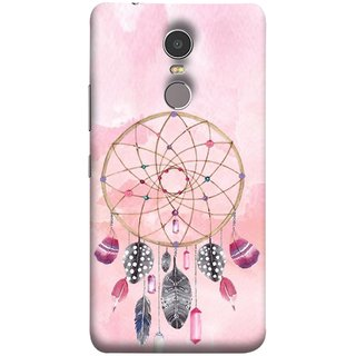 FUSON Designer Back Case Cover for Lenovo K6 Note (Pink Circle Design Birds Feathers Diamonds Ruby )