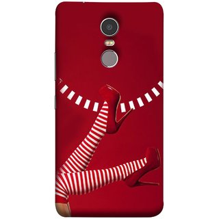 FUSON Designer Back Case Cover for Lenovo K6 Note (High Heel Red And White Socks Beautiful Legs Girl)