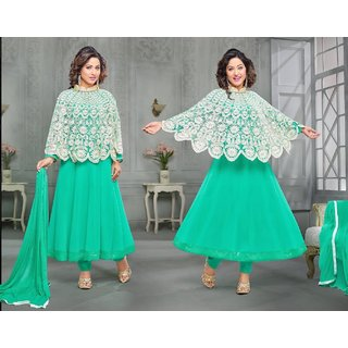 Buy Knot N Needle Poncho Style Semi Stitched Dress Material With