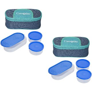 Carrolite Set Of 2 Solace BlueGreen Lunchbox2 Plastic Container  1 Plastic Chapati tray