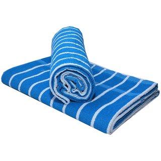 Bpitch 2pc Large Blue Stripe Bath Towel - 70x140 cm