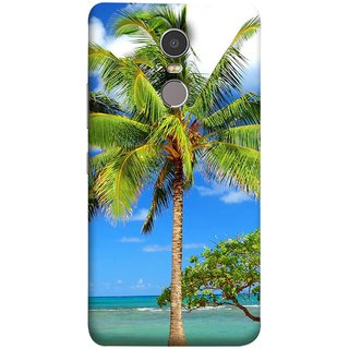 FUSON Designer Back Case Cover for Lenovo K6 Note (Palmtrees At The Beach Sea Blue Sky New Horizons )