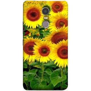 FUSON Designer Back Case Cover for Lenovo K6 Note (Field Of Bright Happy Sunflowers Outside Oil Food)