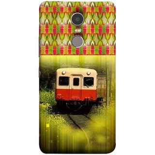 FUSON Designer Back Case Cover for Lenovo K6 Note (Old Trains Sunshine Yellow Flowers Express Mail )