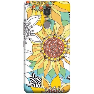 FUSON Designer Back Case Cover for Lenovo K6 Note (Sunflowers Flowers Green Grass Beautiful Painting Canvas)